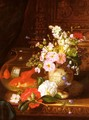 Still Life With Camellias, Primroses And Lily Of The Valley In An Urn By A Goldfish Bowl - John Wainwright
