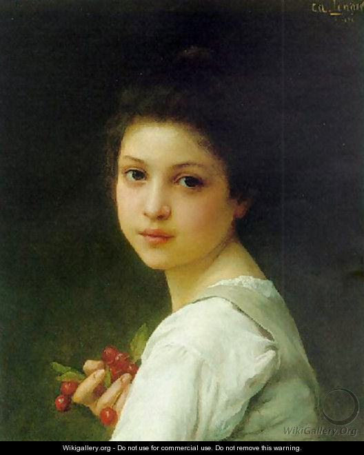 Portrait of a young girl with cherries - Lenoir Charles Amable