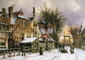 A Townview with Figures on a Snow Covered Street - Willem Koekkoek