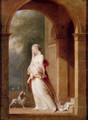 A Young Woman Standing In An Archway - Jean-Baptiste Mallet