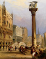 A View Of St Mark's Column, And The Doge's Palace, Venice - Edward Pritchett