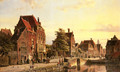 Figures by a Canal in a Dutch Town - Willem Koekkoek