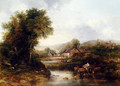 An Extensive River Landscape With A Drover In A Cart With His Cattle - Frederick Waters Watts