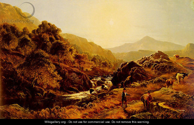 Figures On A Path By A Rocky Stream - Sidney Richard Percy