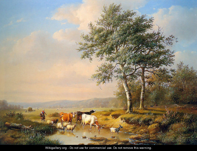 An Extensive Landscape with Cattle Watering - Louis Pierre Verwee