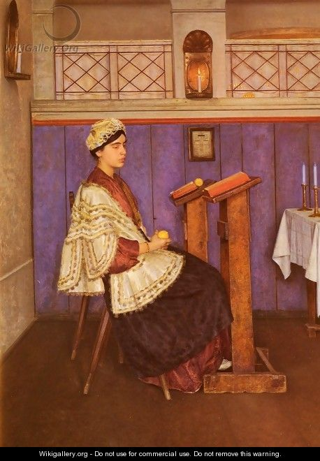 Young Woman in the Synagogue - Isidor Kaufmann