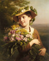 A Young Beauty holding a Bouquet of Flowers - Fritz Zuber-Buhler