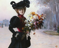 La Femme Au Fleurs, Jardin Du Tuileries (Lady with Flowers, Garden of the Tuileries) - Fernand de Launay