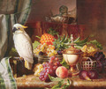 Still Life With Fruit and a Cockatoo - Josef Schuster