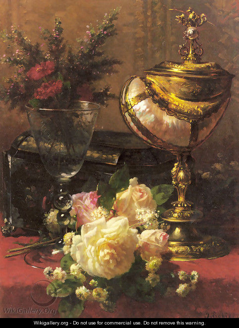 A Bouquet of Roses and other Flowers in a Glass Goblet with a Chinese Lacquer Box and a Nautilus Cup on a red Velvet draped Table - Jean-Baptiste Robie