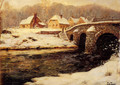 A Stone Bridge Over A Stream In Winter - Fritz Thaulow