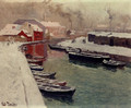 A Snowy Harbor View - Fritz Thaulow