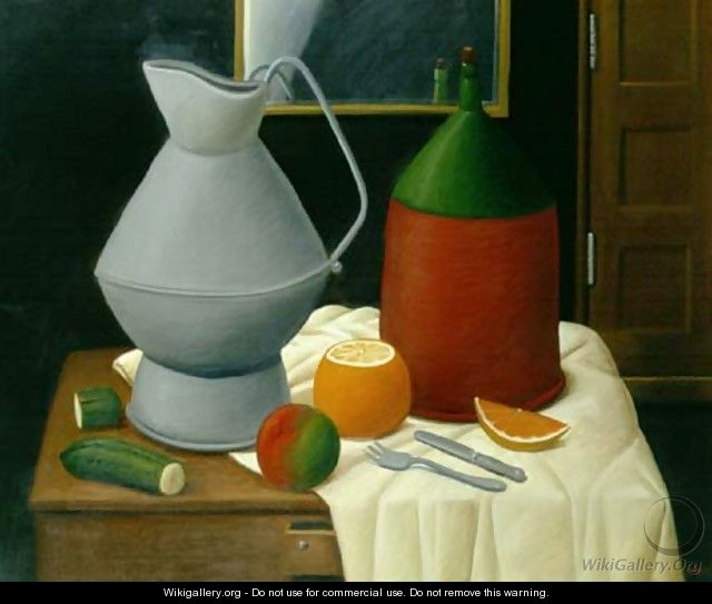 Still Life With A Mirror - Fernando Botero
