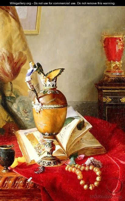 A Still Life With Urns And Illuminated Manuscript On A Draped Table - Blaise Alexandre Desgoffe