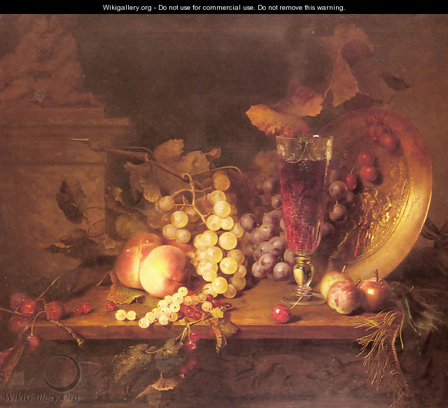 Still Life with Fruit, a Glass of Wine and a Bronze Vessel on a Ledge - Blaise Alexandre Desgoffe