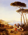 A Group Of Peasants With The Bay Of Naples Beyond - Consalvo Carelli