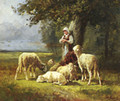 A Shepherdess With Her Flock In A Woodland Clearing - Charles Émile Jacque