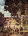 A Shepherdess with her Flock near a Stream - Charles Émile Jacque