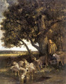 A Shepherdess with Her Flock by a Pool - Charles Émile Jacque