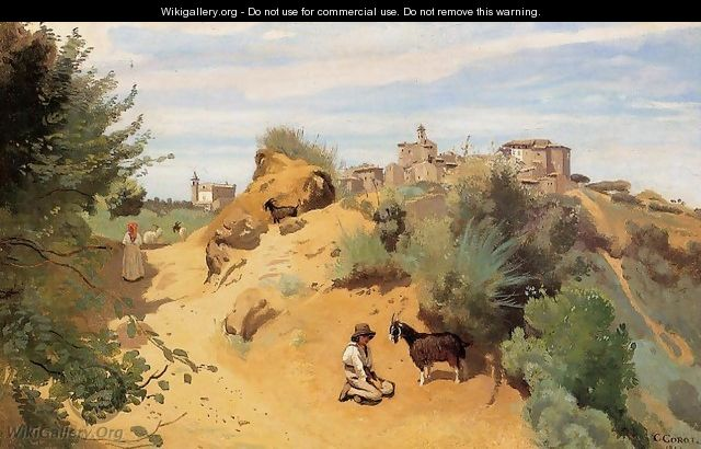 Genzano - Goatherd and Village - Jean-Baptiste-Camille Corot