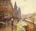 A Flower Market Along the Seine - Georges Stein