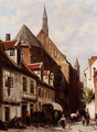 A Busy Street In Bremen With The Saint Johann Church In The Background - Cornelis Springer