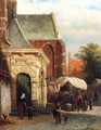 A View Of The South Entrance Of The St. Pancras Church, Enkhuizen - Cornelis Springer
