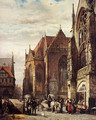 Many Figures On The Market Square In Front Of The Martinikirche, Braunschweig - Cornelis Springer