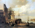 Figures at a market Stall by a Harbour - Jan Michael Ruyten