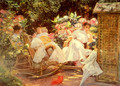 Ladies In A Garden - Jose Villegas y Cordero