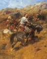 Arab Warriors On A Hillside - Adolf Schreyer
