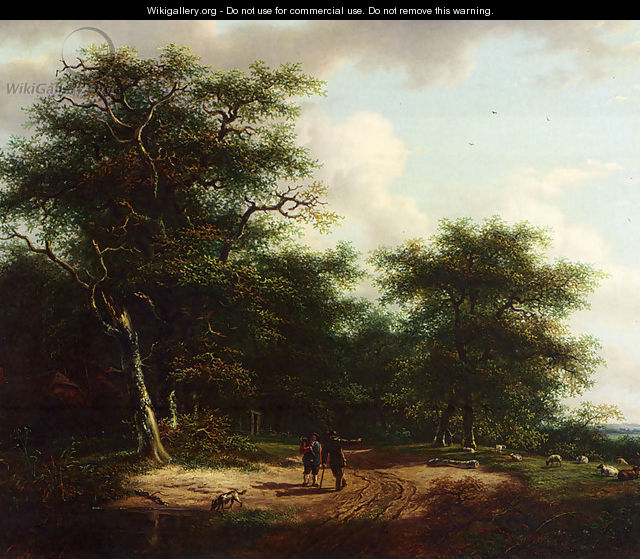 Two Figures In A Summer Landscape - Andreas Schelfhout