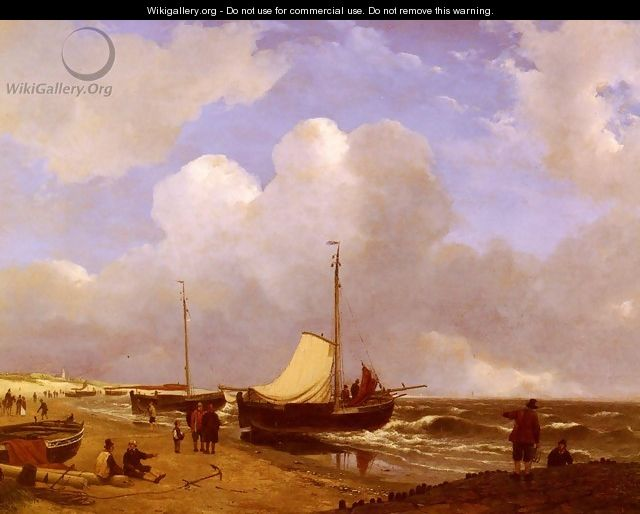 Moored on the Beach - Andreas Schelfhout
