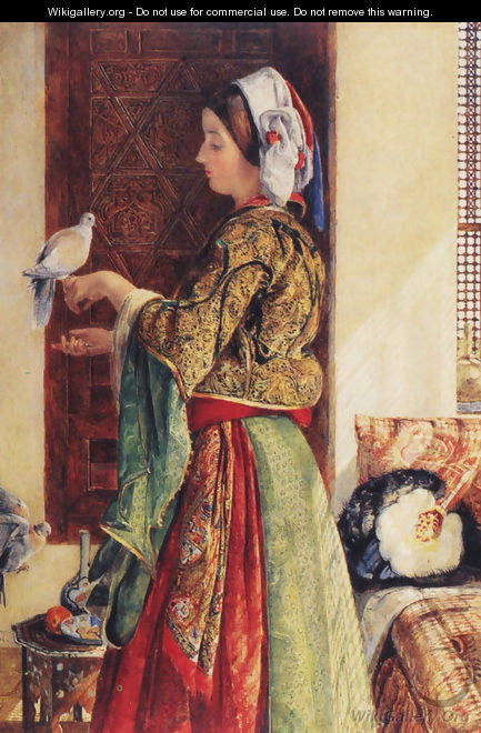 Girl with Two Caged Doves - John Frederick Lewis