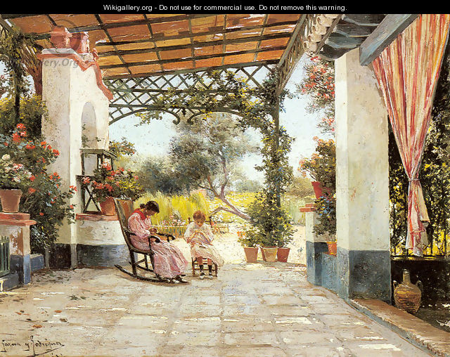 Mother and Daughter Sewing on a Patio - Manuel Garcia y Rodriguez