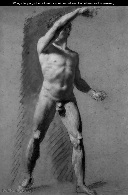 Male Nude Pointing - Pierre-Paul Prud