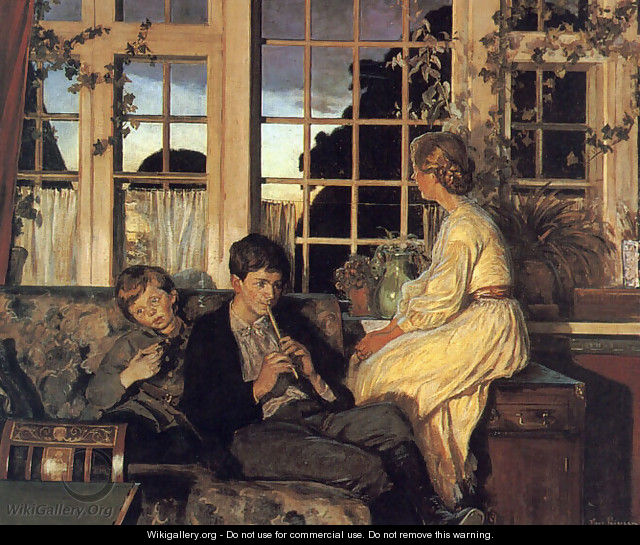 A Mother and Children by a Window at Dusk - Viggo Christian Frederick Pedersen