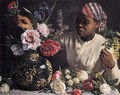 African woman with Peonies, 1870 - Frederic Bazille