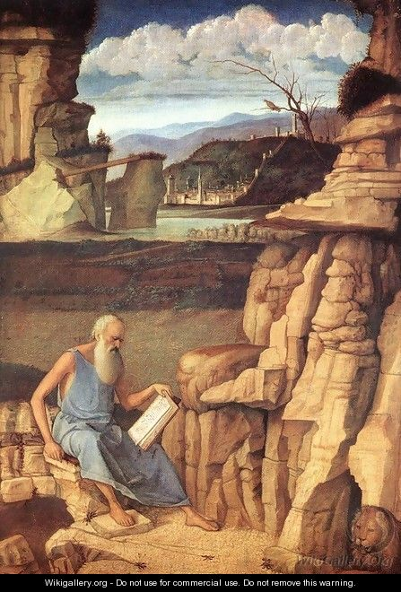 St. Jerome Reading in the Countryside - Giovanni Bellini