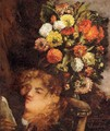 Head Of A Woman With Flowers - Gustave Courbet