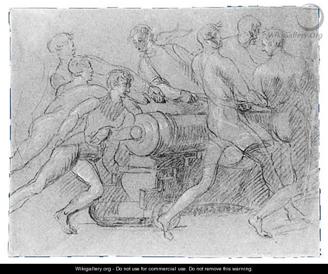 Sailors Maneuvering a Cannon, Possibly a Study for - John Singleton Copley