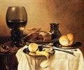 Breakfast Still Life With Roemer, Meat Pie, Lemon And Bread - Pieter Claesz.