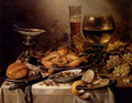 Banquet Still Life With A Crab On A Silver Platter, A Bunch Of Grapes, A Bowl Of Olives, And A Peeled Lemon All Resting On A Draped Table - Pieter Claesz.