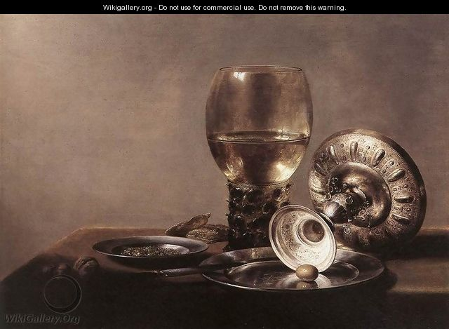 Still Life with Wine Glass and Silver Bowl 2 - Pieter Claesz.