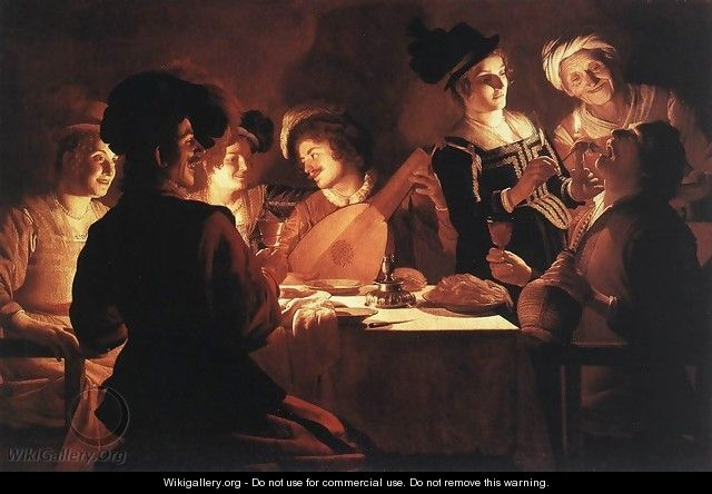 Supper With The Minstrel And His Lute - Gerrit Van Honthorst