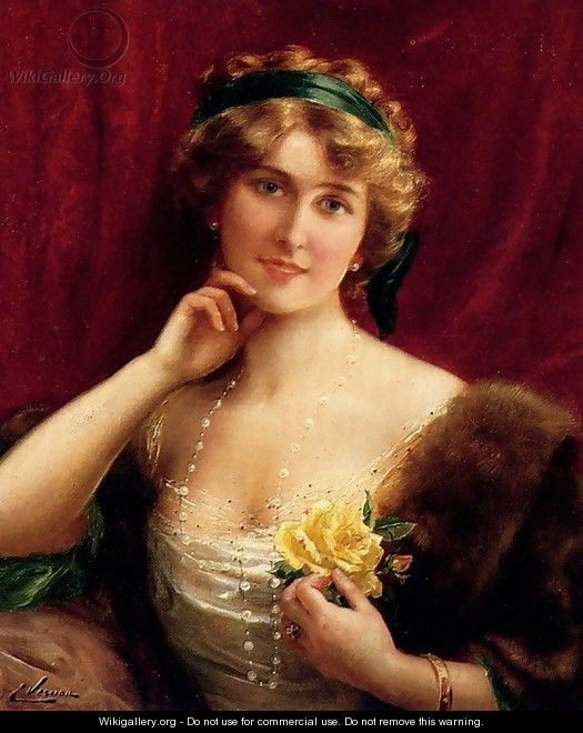 An Elegant Lady With A Yellow Rose - Emile Vernon