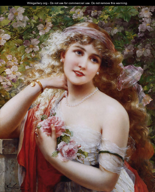 Young Lady With Roses - Emile Vernon