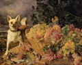A Dog By A Basket Of Grapes In A Landscape - Ferdinand Georg Waldmuller