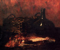 A Still Life With A Fish, A Bottle And A Wicker Basket - Antoine Vollon