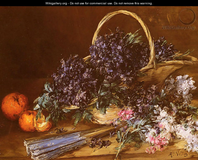 A Still Life with a Basket of Flowers, Oranges and a Fan on a Table - Antoine Vollon